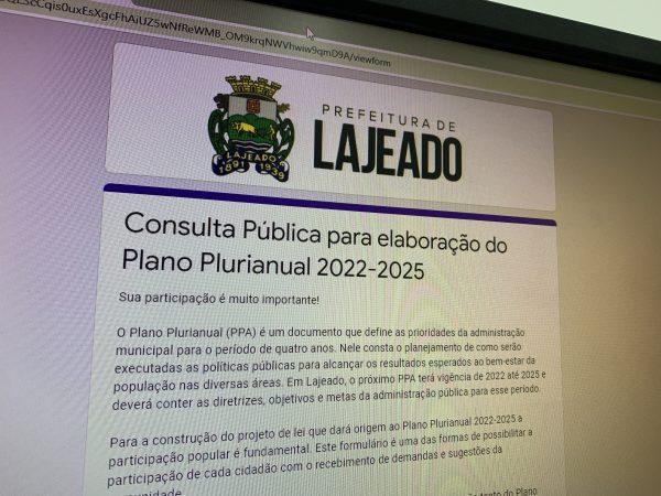 Lajeado lança Consulta Pública para elaboração do Plano Plurianual